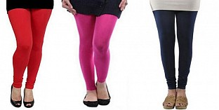 Cotton Red,Pink and Dark Blue Color Leggings Combo @ Rs617.00