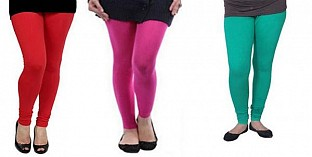 Cotton Red,Pink and Rama Green Color Leggings Combo @ Rs617.00