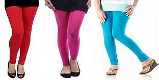 Cotton Red,Pink and Sky Blue Color Leggings Combo @ Rs617.00