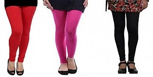 Cotton Red,Pink and Black Color Leggings Combo @ Rs617.00