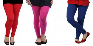 Cotton Red,Pink and Royal Blue Color Leggings Combo @ Rs617.00
