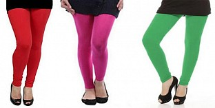 Cotton Red,Pink and Green Color Leggings Combo @ Rs617.00