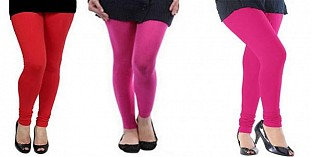 Cotton Red,Pink and Pink Color Leggings Combo @ Rs617.00