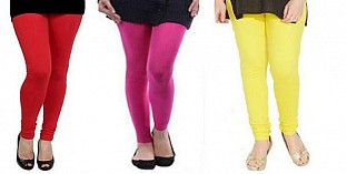 Cotton Red,Pink and Light Yellow Color Leggings Combo @ Rs617.00