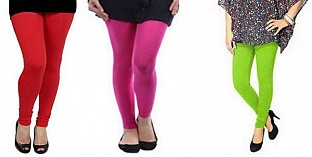 Cotton Red,Pink and Parrot Green Color Leggings Combo @ Rs617.00