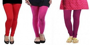 Cotton Red,Pink and Drak Pink Color Leggings Combo @ Rs617.00
