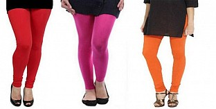 Cotton Red,Pink and Orange Color Leggings Combo @ Rs617.00