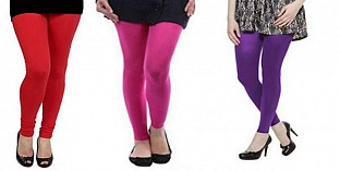 Cotton Red,Pink and Purple Color Leggings Combo @ Rs617.00