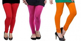 Cotton Red,Pink and Dark Orange Color Leggings Combo @ Rs617.00
