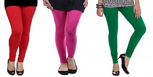Cotton Red,Pink and Dark Green Color Leggings Combo @ Rs617.00