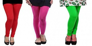 Cotton Red,Pink and Light Green Color Leggings Combo @ Rs617.00