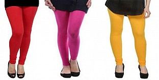 Cotton Red,Pink and Yellow Color Leggings Combo @ Rs617.00