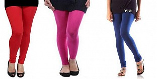 Cotton Red,Pink and Blue Color Leggings Combo @ Rs617.00