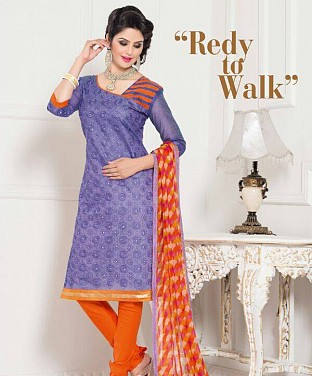 Chanderi Cotton Embroidered Salwar Suit @ Rs629.00