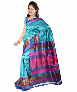 BLUE PINK ART SILK Saree @ Rs469.00