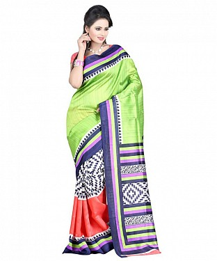 GREEN PALLU ART SILK Saree @ Rs391.00