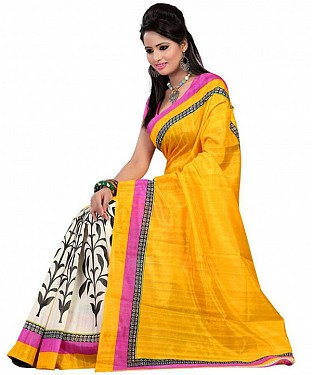 BIG LEAF YELLOW Saree @ Rs469.00
