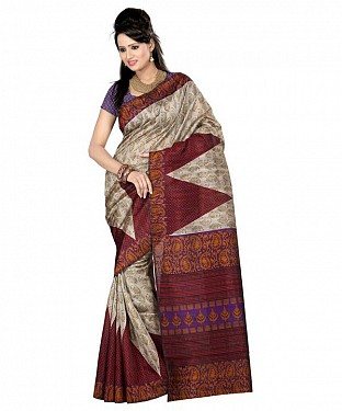BIG TRIANGLE CREAM Saree @ Rs469.00