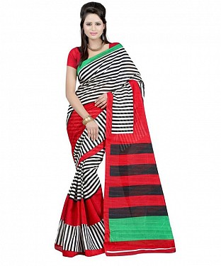BLACK STIRPE RED Saree @ Rs469.00