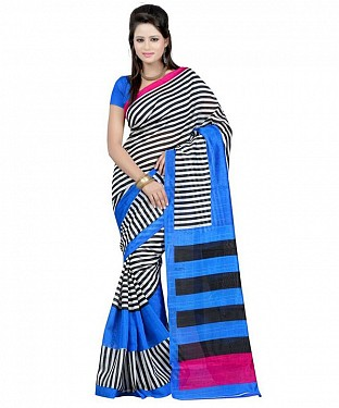 BLACK STRIPE BLUE Saree @ Rs469.00