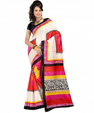 FAREMER RED PINK Saree @ Rs469.00
