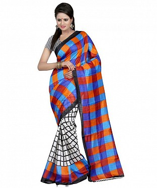 ORANGE BLUE SQUARE Saree @ Rs469.00