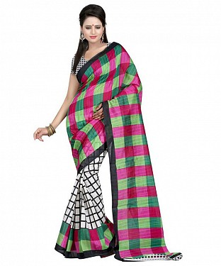 PINK GREEN SQUARE Saree @ Rs469.00