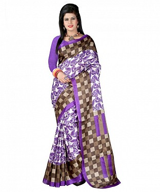 PURPLE CHECKS Saree @ Rs469.00
