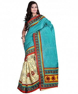 RED FLOWER BLUE Saree @ Rs469.00