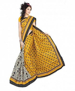 TURMERIC PRINT Saree @ Rs469.00