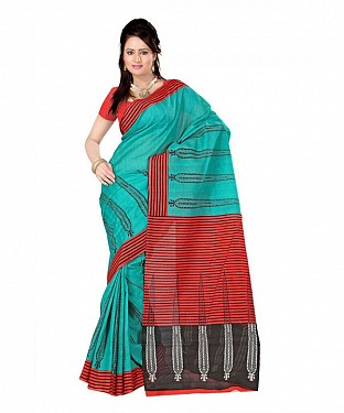 WICKET GREEN RED Saree @ Rs469.00