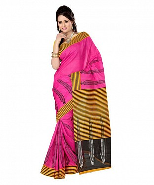 WICKET PINK YELLOW Saree@ Rs.469.00