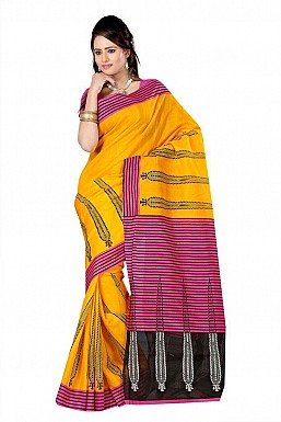 WICKET YELLOW PINK Saree@ Rs.469.00