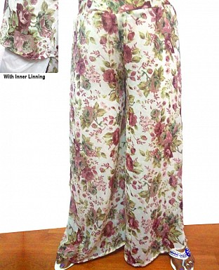 Printed Georgette Palazzo With Lining@ Rs.250.00
