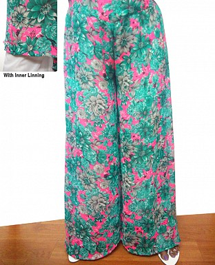 Printed Georgette Palazzo With Lining @ Rs250.00