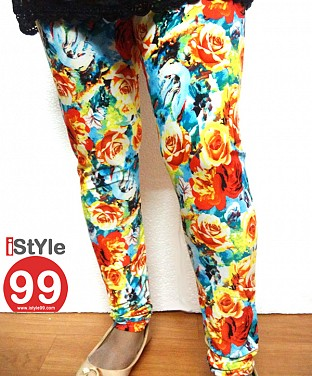 High-end European Stretchable Print Leggings-Multi @ Rs402.00