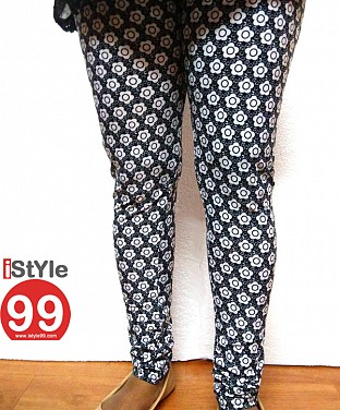 High-end European Stretchable Print Leggings-Black & White Buy Rs.402.00