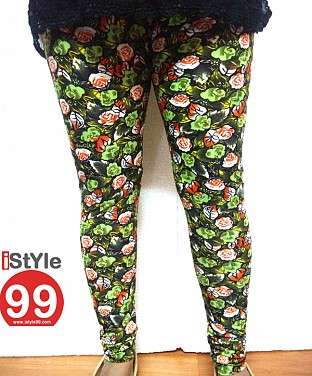 High-end European Stretchable Print Leggings-Green Buy Rs.402.00