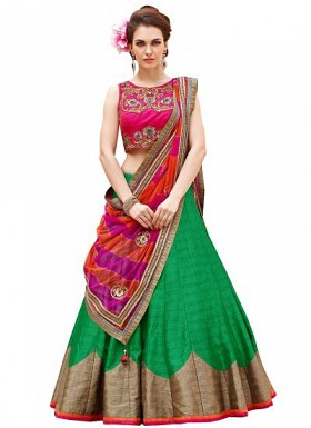 New Pink And Green Baglori Silk Lehenga Choli@ Rs.1235.00