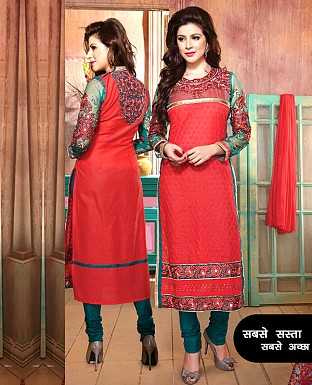 Cotton Embroidery Straight Suit With Duppta @ Rs1144.00