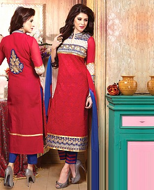 Cotton Embroidery Straight Suit With Duppta @ Rs350.00