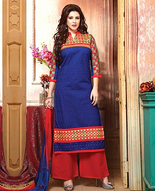 Cotton Embroidery Straight Suit With Duppta Buy Rs.300.00