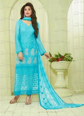 New Aqua Nazneen Chiffon Designer Dress Material @ Rs1606.00