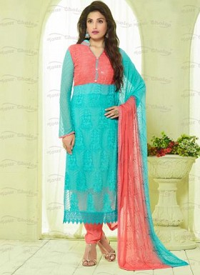 New Aqua & Peach Nazneen Chiffon Designer Dress Material @ Rs1606.00