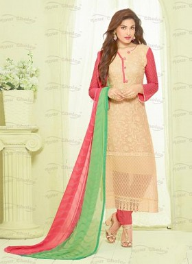New Beige Nazneen Chiffon Designer Dress Material @ Rs1606.00
