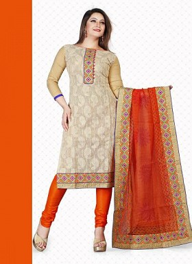 New Beige & Orange Banarasi Chicken Dress Material @ Rs1235.00