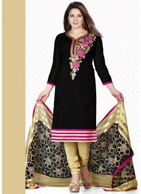 vandv New Black &Cream Pure Cotton Dress Material@ Rs.1359.00