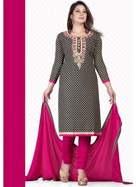 vandv New Black & Magenta Pure Cotton Dress Material @ Rs1235.00