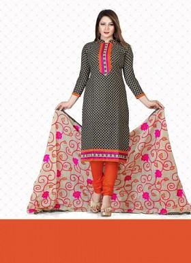 New Black & Orange Pure Cotton Dress Material@ Rs.1359.00