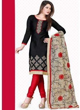 vandv New Black & Red Pure Cotton Dress Material @ Rs1235.00